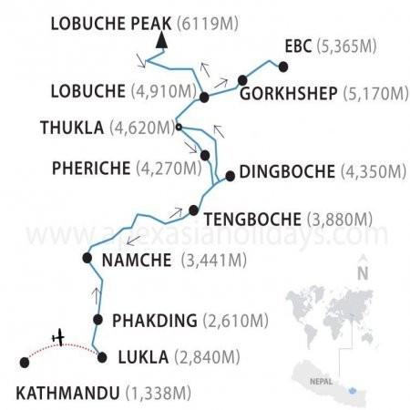 Lobuche Peak Climbing map