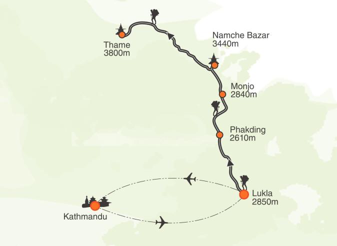 Everest Short Trek Map
