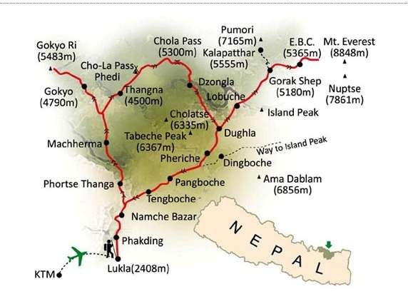 Gokyo Cho La Pass Trekking Map