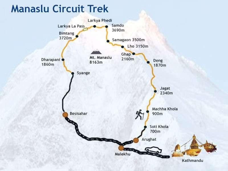 Manaslu Circuit Trek Map