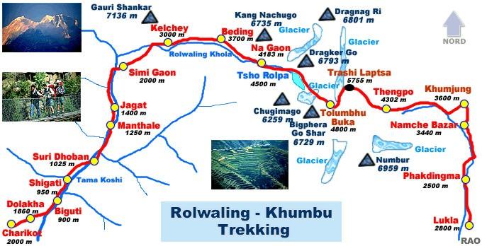 Rolwaling Trekking Map